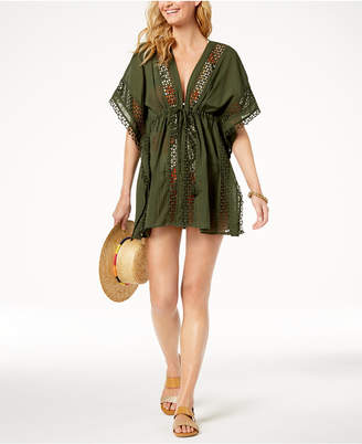 Vince Camuto Crochet-Trim Tie-Front Caftan Cover-Up