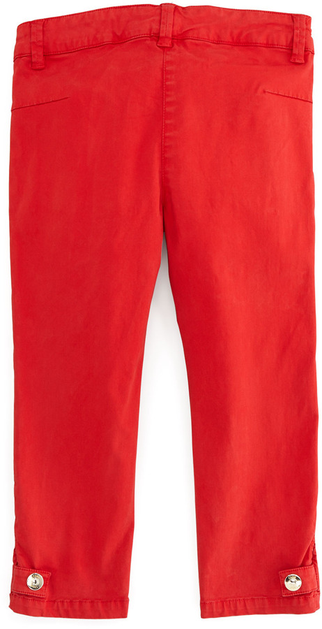 Chloé Satin-Stretch Pants, Red, Sizes 2Y-5Y