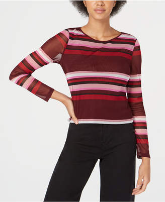 Bar III Striped Illusion Mesh Top, Created for Macy's