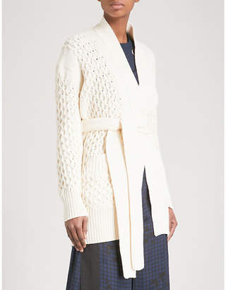 Sacai Belted cable-knit cotton cardigan
