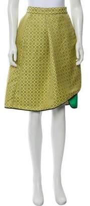 Harvey Faircloth Patterned Knee-Length Skirt w/ Tags Yellow Patterned Knee-Length Skirt w/ Tags