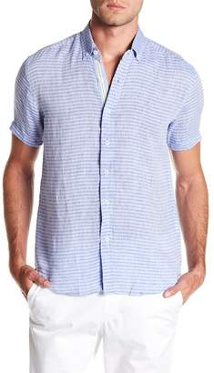 Report Collection Horizontal Stripe Short Sleeve Slim Fit Linen Shirt