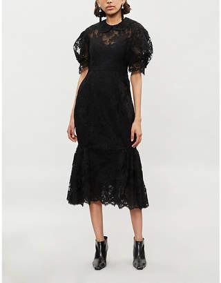 Simone Rocha Puffed-sleeve lace midi dress