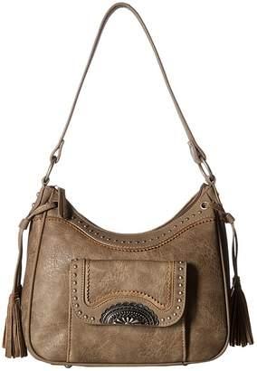 American West Guns and Roses Zip Top Shoulder Bag w/ Secret Compartment Shoulder Handbags