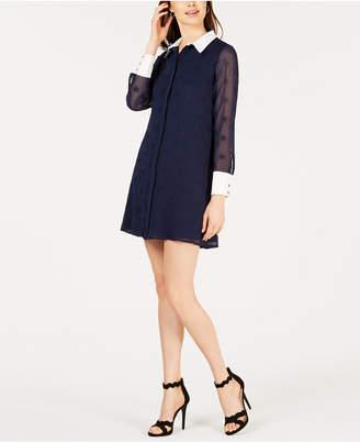 AVEC LES FILLES Sheer-Sleeve Wrap Dress