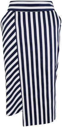 Closet Navy Stripe Panel Pencil Skirt