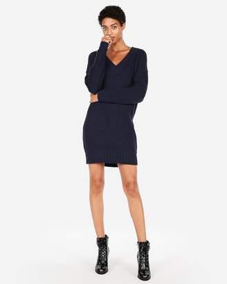 Express Shaker Knit V-Neck Sweater Dress