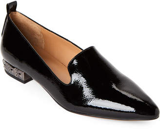Franco Sarto Black Patent Shelby Studded Heel Loafers