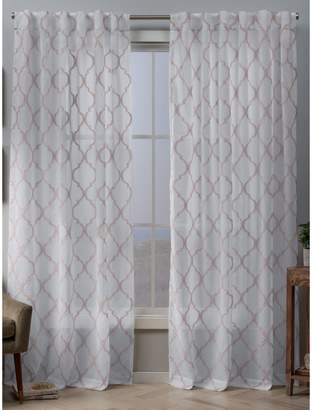Home Outfitters Exclusive Home Aberdeen Sheer Woven Trellis Embellished Hidden Tab Top Curtain Panel Pair