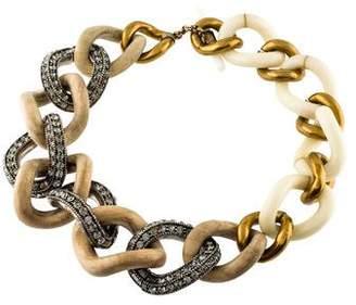 Eddie Borgo Wood, Crystal & Resin Chain Necklace