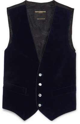 Favourbrook Midnight-Blue Piped Cotton-Velvet Waistcoat