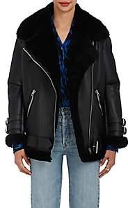 Acne Studios Women's Velocite Leather Oversized Jacket - Black, black