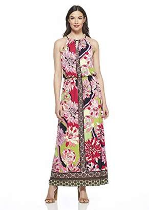London Times Women's Sleeveless Keyhole Halter Blouson Maxi Dress