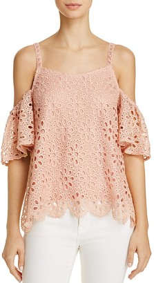 En Créme Cold-Shoulder Lace Top $48 thestylecure.com