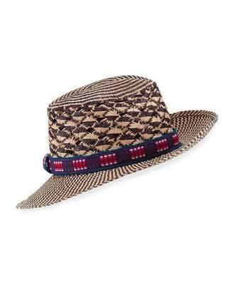 Valdez Panama Nadia Chevron Straw Fedora Hat