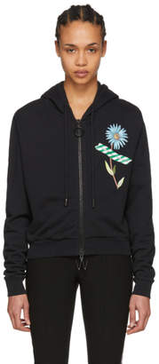 Off-White Black Flower Tape Crop Zip Hoodie