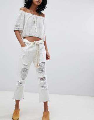 One Teaspoon Festival Hooligans Low Waist Relaxed Straight Leg Jean with Rips