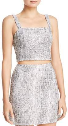 Aqua Metallic Tweed Cropped Top - 100% Exclusive
