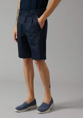 Giorgio Armani Cotton Bermuda Shorts With Side Buckles