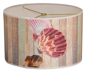 "Royal Designs Sea Shell Designer Hard Back 10"" Paper Drum Lamp Shade Royal Designs"