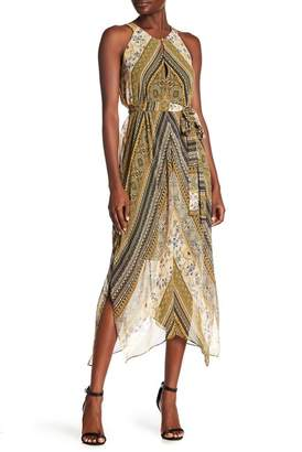 BCBGMAXAZRIA Sleeveless Print Handkerchief Dress