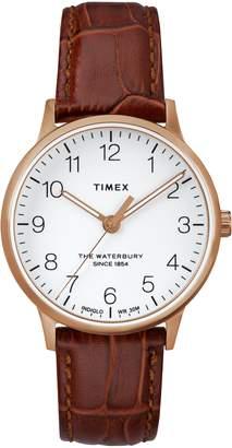 Timex R) Waterbury Leather Strap Watch, 36mm