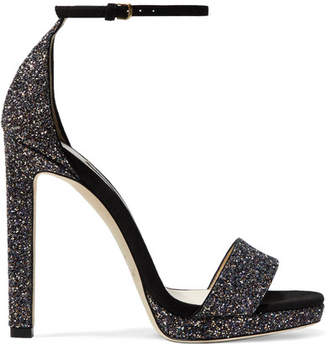 Jimmy Choo Misty 120 Glittered Leather And Suede Sandals - Metallic