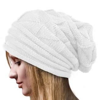 f7dfe1f8 Gillberry Women Winter Crochet Hat Wool Knit Beanie Raccoon Warm Cap High Bun  Ponytail Beanie Hat