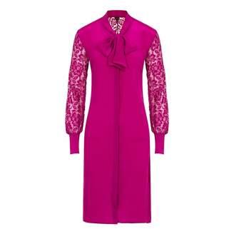Sophie Cameron Davies - Berry Pink Silk Midi Bow Dress