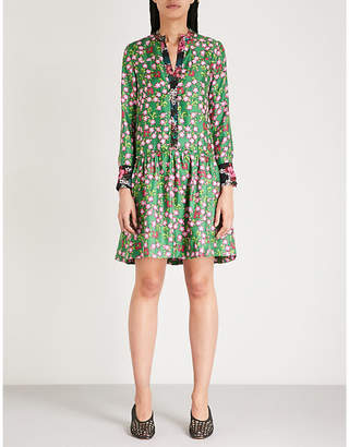 Sandro Floral-print silk-twill dress