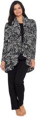 Carole Hochman Velour Long Cardigan 3-Piece Lounge Set
