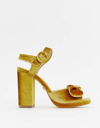 Oasis block heeled sandals in yellow velvet