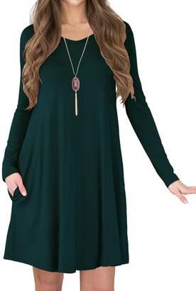 TINYHI Women's Long Sleeve V-Neck Side Pockets Casual Swing T-Shirt Dress(Dark Green,M)