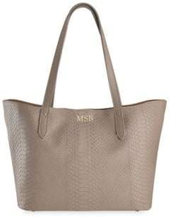 GiGi New York Teddie Python-Embossed Leather Tote Bag