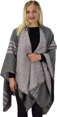 Couture Peach Womens Thick Warm Geometric Striped Poncho Blanket Wrap Shawl