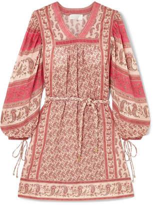 Zimmermann Juniper Rioting Printed Cotton-voile Mini Dress - Pink