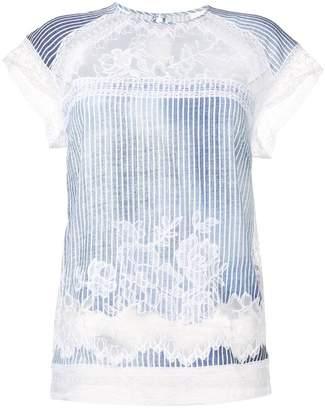 Ermanno Scervino scalloped lace striped T-shirt