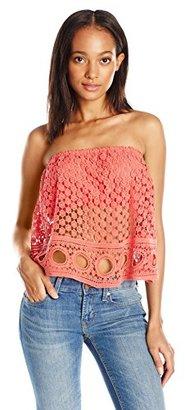 Buffalo David Bitton Women's Meridian Ruffle Crochet Crop Top $24.53 thestylecure.com
