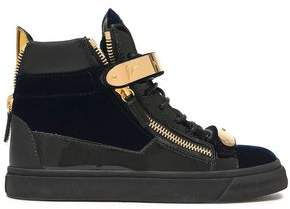 Giuseppe Zanotti Smooth And Patent Leather-Trimmed Velvet High-Top Sneakers