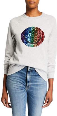 Melissa Masse Plus Size Sequin Smiley Face Raglan-Sleeve Sweatshirt