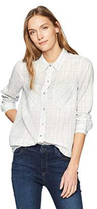 Calvin Klein Jeans Women's Frosted Flannel Button Down Shirt Linear Plaid