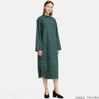 Uniqlo Women's Mock Neck Printed Long-sleeve Dress (hana Tajima)