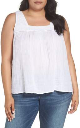 Caslon Embroidered Neck Swing Tank