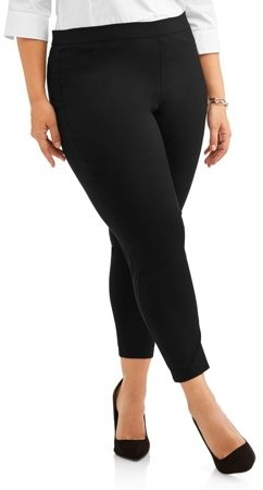 Lifestyle Attitudes Women's Plus Stretch Woven Career Pant With Scoop Pockets