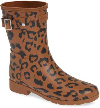 Hunter Leopard Print Refined Short Rain Boot
