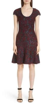 St. John Sparkle Velvet Jacquard Fit & Flare Dress