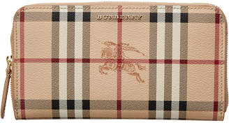Burberry Haymarket Check & Leather Ziparound Wallet