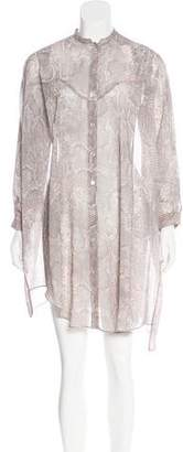 Acne Studios Snakeskin Print Button-Up Shirtdress