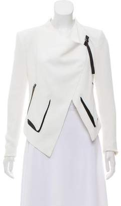 Helmut Lang Leather-Accented Asymmetrical Jacket