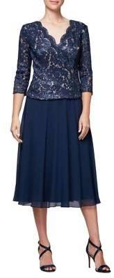 Alex Evenings Lace Tea-Length A-Line Dress